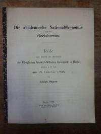 Wagner, Die akademische Nationalökonomie und der Socialismus,