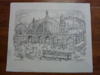 Dittmann, Zeichnung vom Frankfurter Hauptbahnhof um 1900, (signiert)