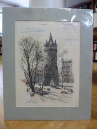 Tomforde, handkolorierte original Lithographie Eschenheimer Turm von 1938,