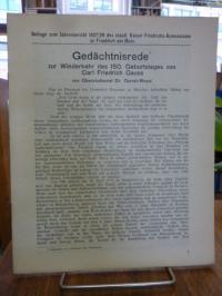 Gauss, Gedächtnisrede zur Wiederkehr des 150. Geburtstages von Carl Friedrich Ga