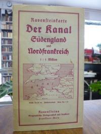 Landkarte, Ravensteinkarte Der Kanal: Südengland und Nordfrankreich