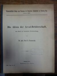 Rosenstock, Die Akten der Arval-Brüderschaft, eine Studie zur lateinischen Recht