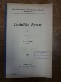 Agahd, Lateinische Syntax,
