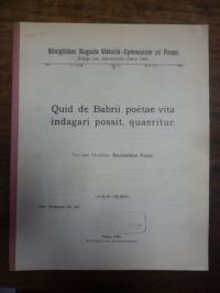 Ficus, Maximilian, Quid de Babrii poetae vita indagari possit, quaeritur
