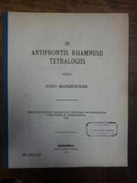Brandenburger, De Antiphontis Rhamnusii Tetralogiis,