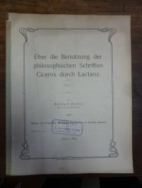 Barthel, Über die Benutzung der philosophischen Schriften Ciceros durch Lactanz,