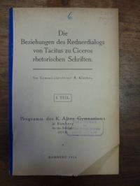 Klaiber, Die Beziehungen des Rednerdialogs von Tacitus zu Ciceros rhetorischen S