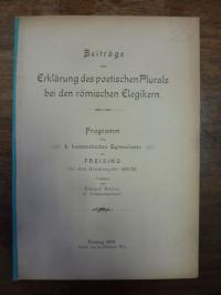 Hailer, Beiträge zur Erklärung des poetischen Plurals bei den römischen Elegiker
