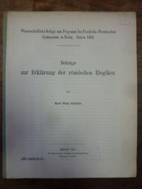 Schulze, Beiträge zur Erklärung der römischen Elegiker,