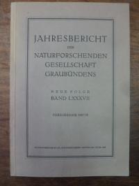 Naturforschende Gesellschaft Graubündens, Jahresbericht der Naturforschenden Ges