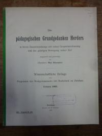 Herder, Die pädagogischen Grundgedanken Herders in ihrem Zusammenhang mit seiner
