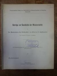 Trockels, Beiträge zur Geschichte der Ministerialität, Teil I: Die Ministerialen