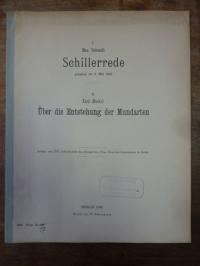 Schmidt, Schillerrede – Gehalten am 9. Mai 1905 / Über die Entstehung der Mundar