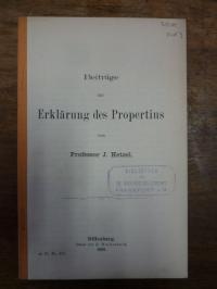 Hetzel, Beiträge zur Erklärung des Propertius,