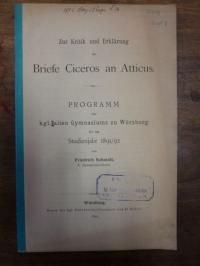 Cicero, Zur Kritik und Erklärung der Briefe Ciceros an Atticus,