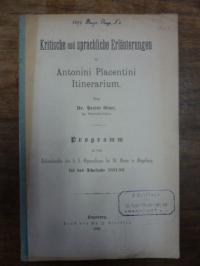 Plautus / Wollner, Kritische und sprachliche Erläuterungen zu Antonini Placentin
