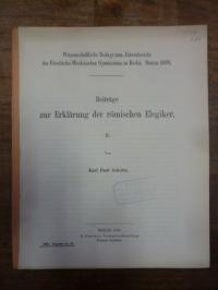Schulze, Beiträge zur Erklärung der römischen Elegiker, [Teil 2],