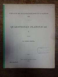 Platon / Meyer, Quaestiones Platonicae I,