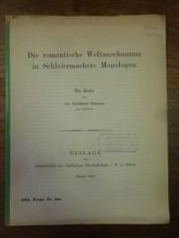 Schleiermacher, Die romantische Weltanschauung in Schleiermachers Monologen – Ei