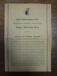 Eugen Diederichs, Verlagsprospekt: Neuerscheinungen 1940 und ausgewählte Geschen