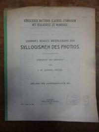Kummer, Johannes Bekkos' Widerlegung der Syllogismen des Photios,