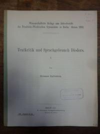 Diodor / Kallenberg, Textkritik und Sprachgebrauch Diodors,
