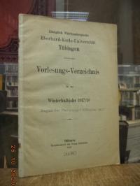 Königlich Württembergische Eber-karls-Universität Tübingen, Vorlesungs-Verzeichn