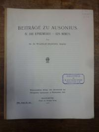 Ausonius / Brandes, Beiträge zu Ausonius., IV. Die Ephemeris – Ein Mimus.,