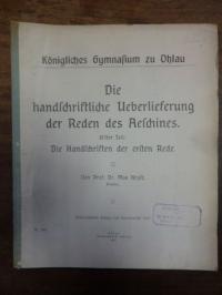 Heyse, Die handschriftliche Ueberlieferung der Reden des Aeschines, Erster Teil: