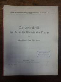 Ahlgrimm, Zur Quellenkritik der Naturalis Historia des Plinius,