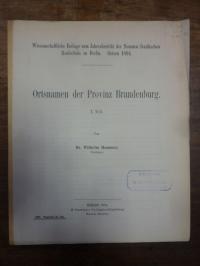 Hammer, Ortsnamen der Provinz Brandenburg,