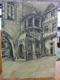 unbekannter Künstler, Original Federzeichung des Renaissance-Treppenturms im Fra