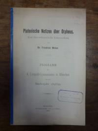Weber, Platonische Notizen über Orpheus – Eine litterarhistorische Untersuchung