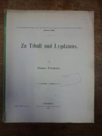 Friedrich, Zu Tibull und Lygdamus,