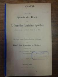 Köhler, Über die Sprache der Briefe des P. Cornelius Lentulus Spinther (Cicero e