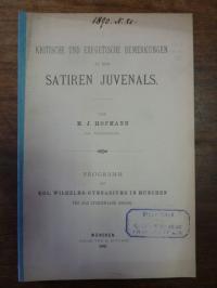 Hofmann, Kritische und exegetische Bemerkungen zu den Satiren Juvenals
