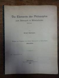 Hermann, Die Elemente der Philosophie zum Gebrauch in Mittelschulen (Schluss),