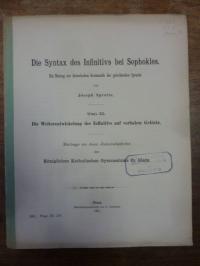 Sprotte, Die Syntax des Infinitivs bei Sophokles – Ein Beitrag zur historischen