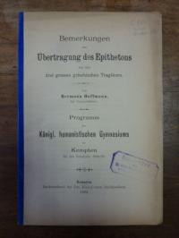 Hoffmann, Bemerkungen zur Übertragung des Epithetons bei den drei grossen griech