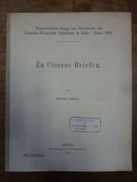 Cicero / Schiche, Zu Ciceros Briefen,