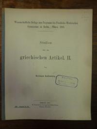 Kallenberg, Studien über den griechischen Artikel – II,