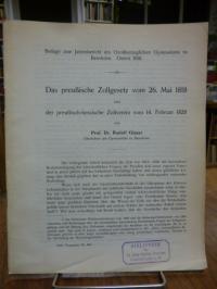 Glaser, Das preußische Zollgesetz vom 26. Mai 1818 und der preußisch-hessische
