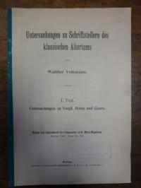 Volkmann, Untersuchungen zu Schriftstellern des klassischen Altertums – I. Teil: