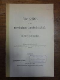Geiss, Die Politio in der römischen Landwirtschaft,