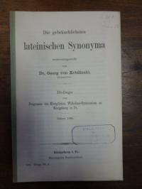 Kobilinski, Die gebräuchlichsten lateinischen Synonyma