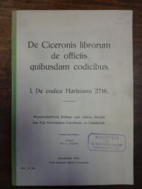 Atzert, De Ciceronis librorum de officiis quibusdam codicibus – I. De codice Har