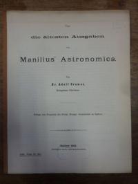 Cramer, Über die ältesten Ausgaben von Manilius` Astronomica.,