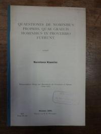 Wiesenthal, Quaestiones de nominibus propriis, quae graecis hominibus in proverb