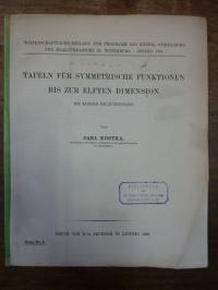 Kostka, Tafeln für symmetrische Funktionen bis zur elften (11.) Dimension mit ku