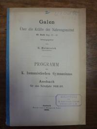 Helmreich, Galen. Über die Kräfte der Nahrungsmittel. III. Buch Kap. 21-41,